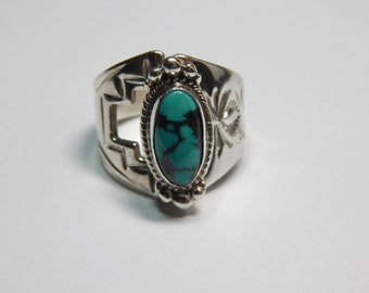 Beautiful Native American Signed 925 Sterling Turquoise Cigar Band Ring
