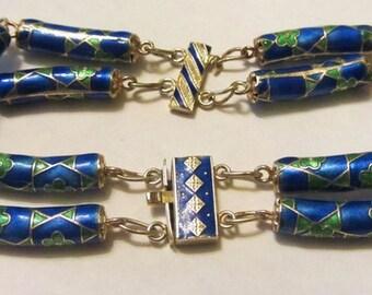 Art Deco Enameled Silver Bracelet - Vintage Silver Double Strand Enameled Bracelet - Silver Enamel Bracelet - Art Deco Silver Bracelet