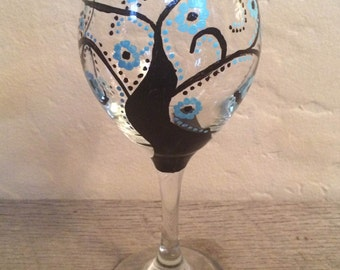 Spiral tree hand-painted wine glass