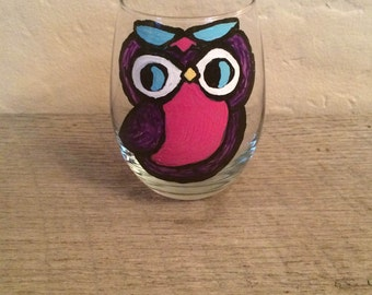 Colorful owl hand-painted wine glass