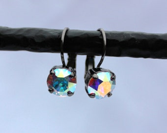 Aurora Borealis 8mm Swarovski Crystal Earrings - Antique Silver, Antique Brass, Shiny Silver, and Black Metal Finishes Available