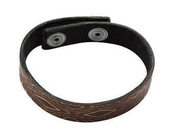 Leather Bracelet, Women's Men's Leather Bracelet, Brown Leather Wristband, narrow leather bracelet with geometric pattern imprinted into it