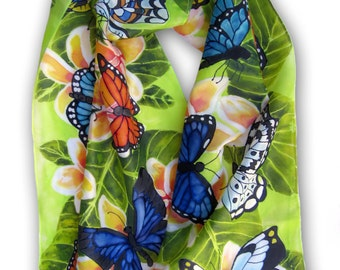 Flowers and Butterflies Hand Painted Silk Scarf. Spring Fashion Scarf. Gift For Her. Wearable Art. Large 15x60 Green, Orange, Blue, Yellow.