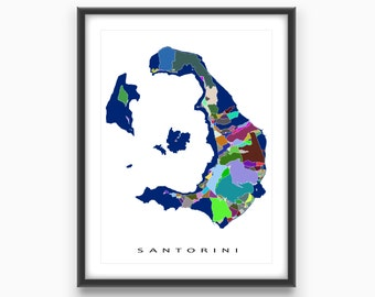Santorini Greece, Santorini Art Map Print, Greece Map, Thira Island