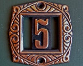 Vintage decorative metal number plate 5