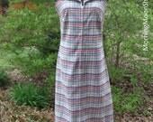 BOHO GRUNGE DRESS, sleeveless sheath, Hipster Vintage 1960s 1970s, Retro Plaid check seersucker, Red White Blue Gold Mad Men hippie festival