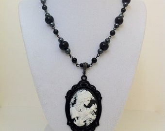 Skeleton Lady Cameo Necklace Gothic Horror Edgar Allan Poe Lenore Halloween Victorian Jewelry