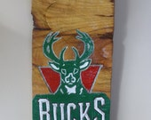 Milwaukee Bucks sign made out a wood log, hand carved, hand painted, log slice, sports sign for man cave, rustic