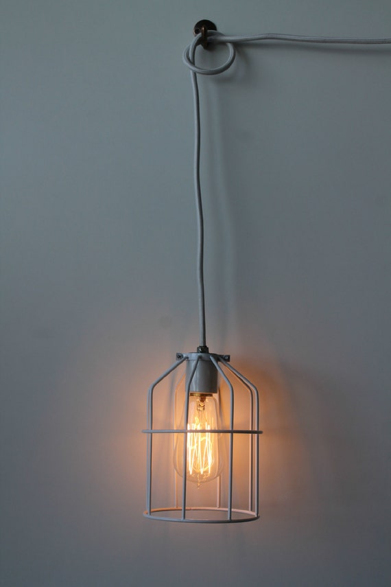 white st58 plug in pendant cage lamp by luxlightco on etsy. Black Bedroom Furniture Sets. Home Design Ideas