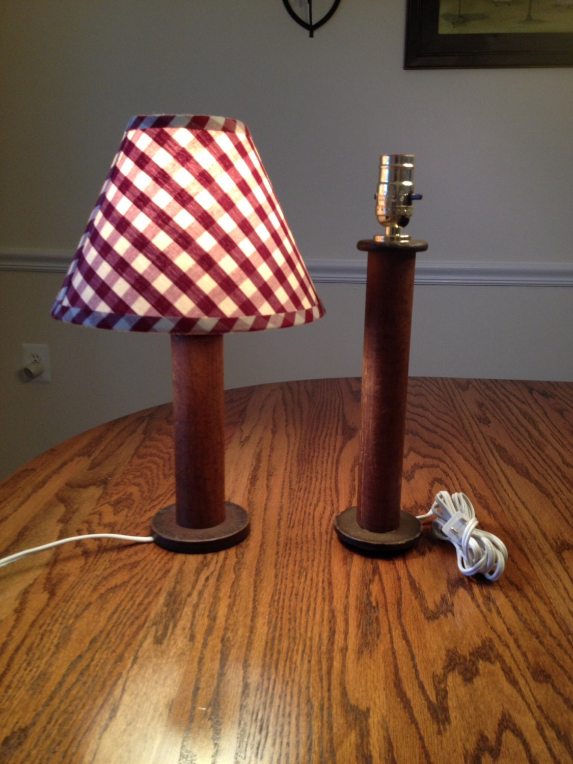 Handmade Wooden Lamps : Upcycled lamp handmade antique wooden spool