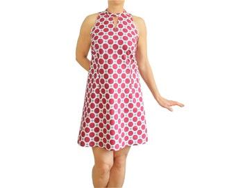 Sleeveless 60ties A-Line Dress, 100% organic cotton