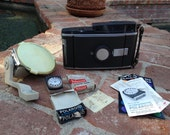 Polaroid Model 150 Land Camera With Accessories Filters Flash Exposure Meter Manual
