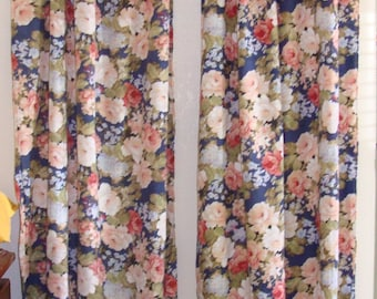 Shabby Chic Window Curtains, Vintage Fabric with cabbage roses. Raw  tattered edge.