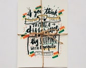 Dalai Lama Typography Hand Lettering Script Print Poster - Quotes: Mosquito - Size A5 (5.8 x 8.3 in)