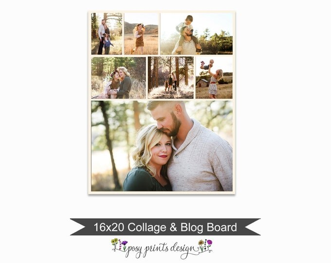 Blog Board & Collage Template 16x20 - Social Media Collage Template - Digital Storyboard - Instant Download - BCB04