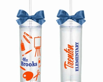 Art Teacher Gift - Skinny Acrylic Tumbler Personalized Cup - Art Teacher Appreciation