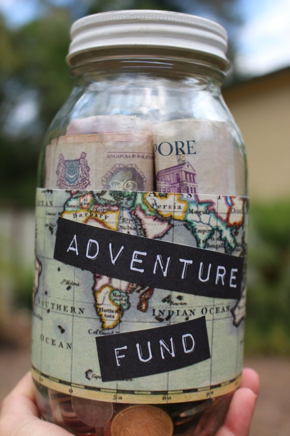 Adventure fund custom glass money jar by monikakveith on etsy for Cool money jars