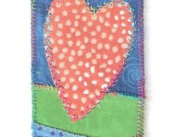 ACEO Orange Fabric Heart