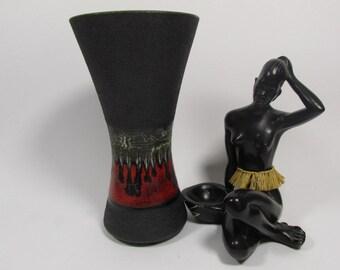 Vintage West German Pottery ceramic vase by Dümler Breiden, 60s, brown green, relief