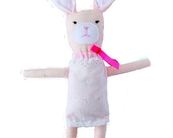 Amelia the pink bunny plush toy for baby girls.