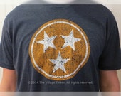 Tennessee Flag Tri-Star in Orange and White on Navy tee