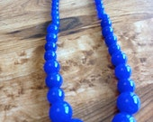 Blue Jade Beaded Necklace, Royal Blue Gemstone Necklace, Royal Blue Jade Jewelry
