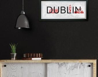 Dublin City Typography Print, Wall Art, Vintage Print, Typography Print, Personalised Print, Wall Decor, Dublin Landmarks, Guiness Factory