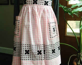 Pink Gingham Apron with Black Cross-stitch Fifties Vintage