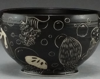 Black and White Jellyfish Cereal Bowl