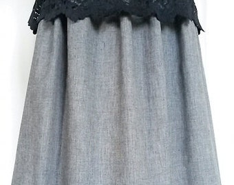 Lace peplum full  midi skirt with gathered and pleated waist