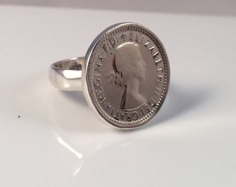 Sixpence Coin Ring .925 Silver Casing Australian