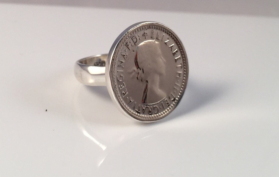 sixpence coin ring 925 silver casing australian