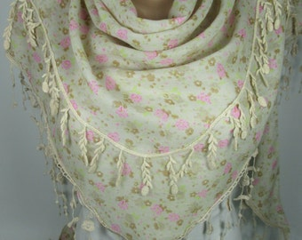 Floral Scarf Cream Scarf Shawl Spring Summer Scarf Tassel Scarf Lace Edge Scarf Women Fashion Accessories Christmas Gift Ideas For Her