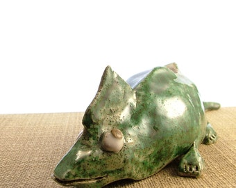 Stoneware Green Chameleon Ornament - Chameleon Sculpture - Lizard Ornament - Stoneware Pot