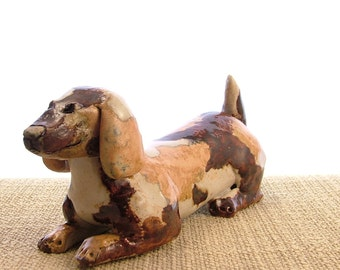 Patchwork Brown Stoneware Doggy Ornament - Dog Sculpture - Clay Animals - Pottery Dog