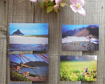 6 Unique Bicycle Art Postcards - Set of 6 Little Cyclist travel photo postcards from around the world