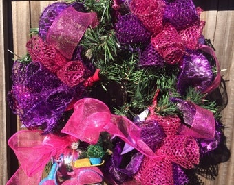 Vivid Pink and Purple Wreath-12in