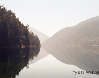 Nahmint Lake Morning -Photography print from Vancouver Island, British Columbia, Canada. Scene showing mountains reflecting into lake