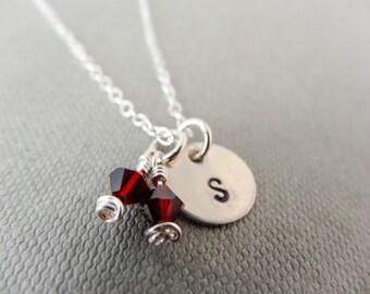 Monogram birthstone necklace, Garnet birthstone necklace, silver initial necklace, Sterling Silver necklace, January birthstone necklace