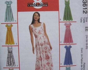 UNCUT Misses/Miss Petite Dresses - McCalls Sewing Pattern 3612 - Size 14, 16, 18, 20