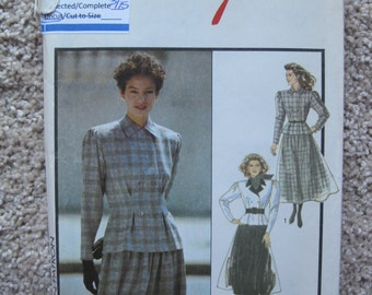 UNCUT Misses Jacket and Skirt - Size 8 - Style Pattern 1458 - Vintage 1988