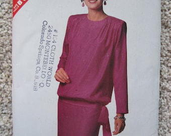 UNCUT Misses Top and Skirt - Size 16 to 24 - Butterick Sewing Pattern 6512 - Vintage 1988