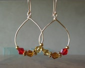 Red Topaz Yellow Crystals on Wire Earrings