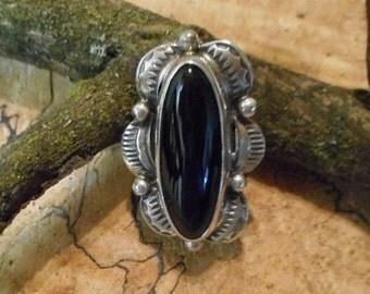 Small Navajo Black Onyx hand made Sterling Silver Brooch