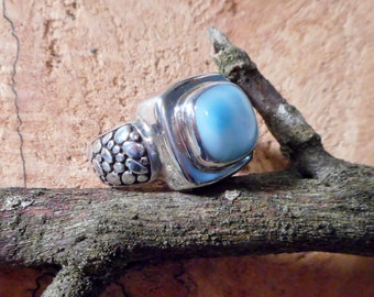 Beautiful Square Larimar and .925 Sterling Silver Ring  Size 7.5