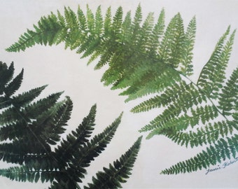 Painted Fern Placemats, Set of Two, 11 x 17