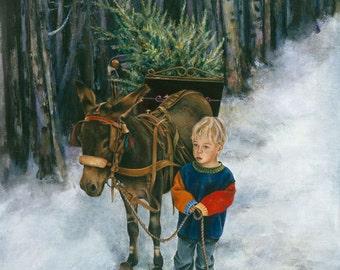 Christmas Card, Donkey, Holiday Card, Animal Christmas Card, Donkey, Christmas Card, Child Christmas Card