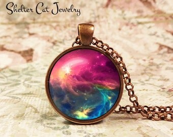 """Galaxy Pendant in Purple and Blue - 1"""" Round Necklace or Key Ring - Handmade Wearable Photo Art Jewelry - Nebula picture"""