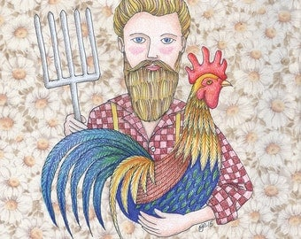 The modern, stylish farmer and his prize rooster