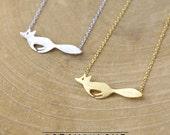 1pcs (KN01) Fox Brass Necklace Jewelry, Animal Necklace Pendant